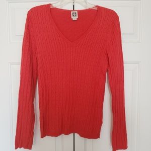 Anne Klein Red Cable Knit Sweater Size Medium